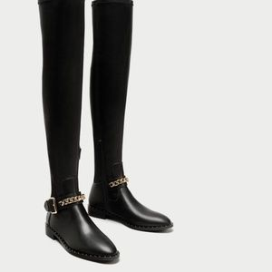 NWT Zara Over the Knee Flat Boot Chain Sz 36 / 6
